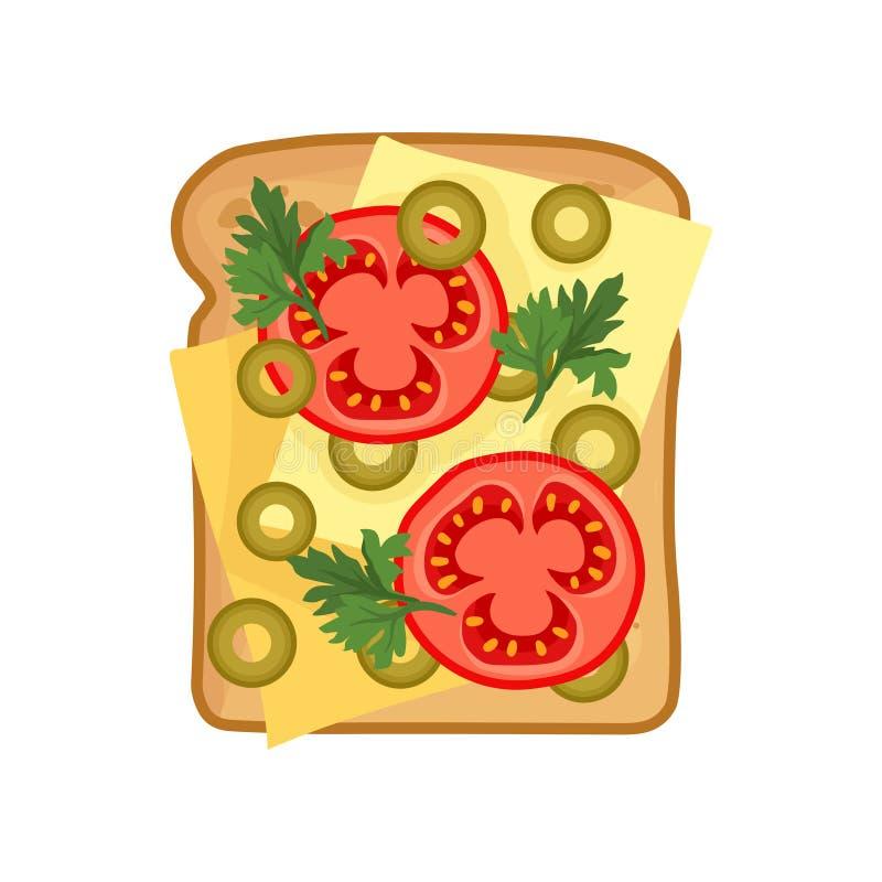 Icône plate de vecteur de sandwich appétissant avec des tranches de fromage, de tomate fraîche, d'olives vertes et de persil Nour illustration de vecteur