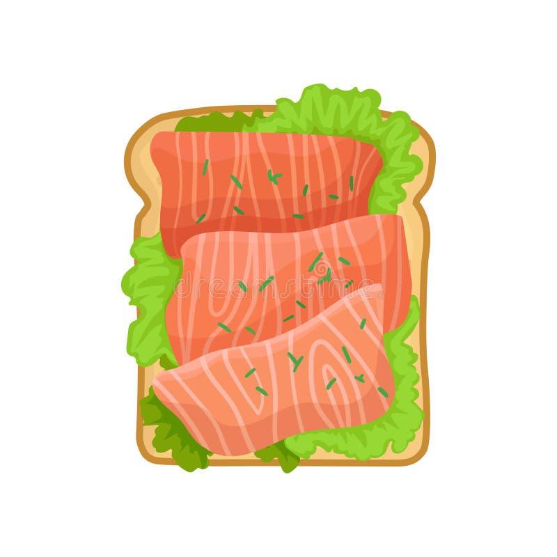 Icône plate de vecteur de sandwich appétissant avec les feuilles vertes de laitue et les poissons saumonés Casse-croûte savoureux illustration stock