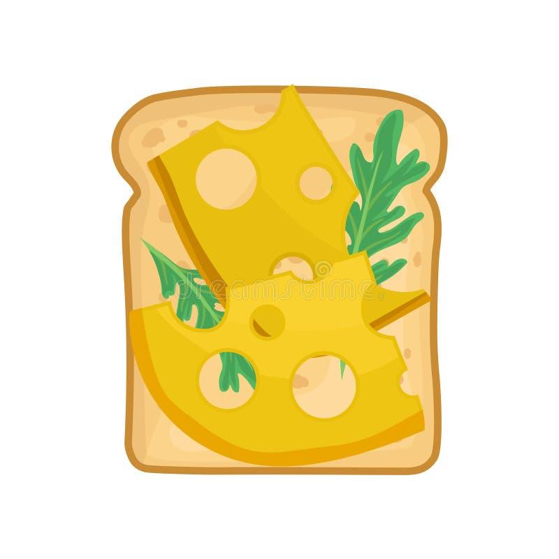 Icône plate de vecteur de sandwich appétissant Pain grillé avec l'arugula et les tranches verts de fromage Casse-croûte délicieux illustration de vecteur