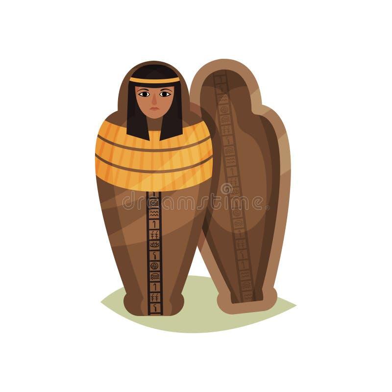 Icône plate de vecteur de sarcophage égyptien vide Objet façonné antique Objet exposé de musée Élément pour le jeu ou la publicit illustration stock