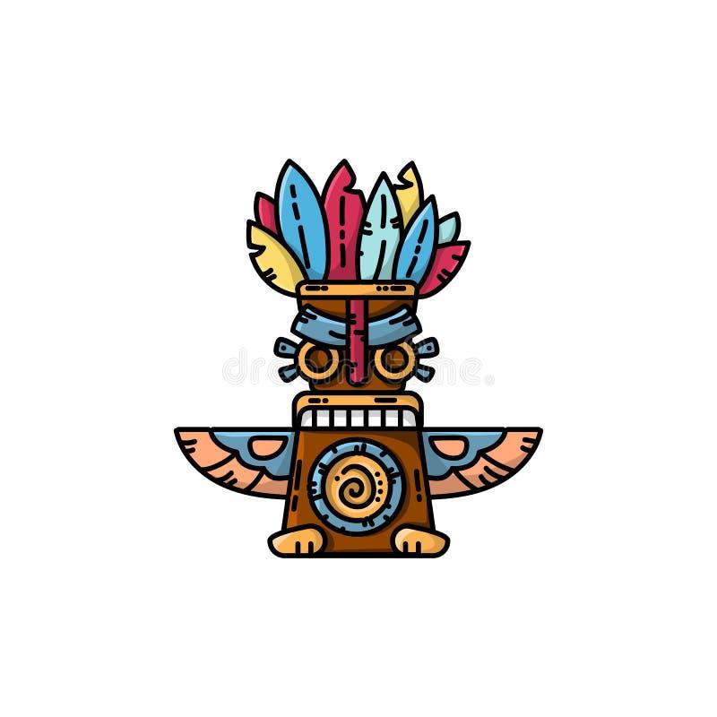 Icône plate de vecteur de totem coloré Illustration d'isolement par symbole tribal illustration libre de droits