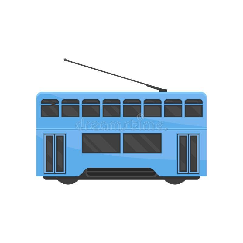 Icône plate de vecteur de tramway bleue de Hong Kong Transport public de Chinois Tram-train urbain Véhicule de rail moderne illustration stock