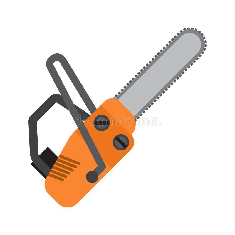 Icône plate de vecteur de tronçonneuse orange illustration stock