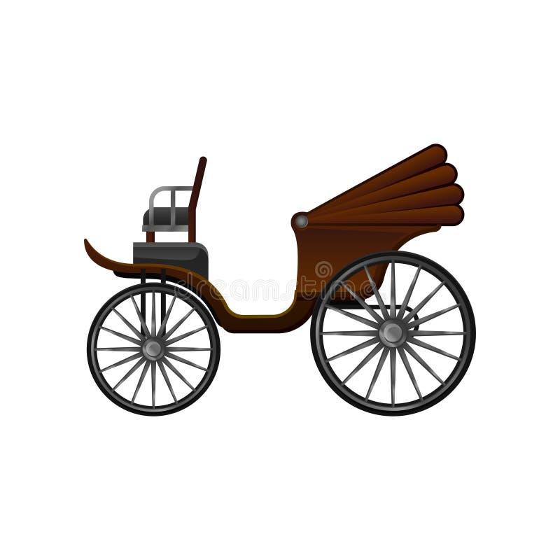 Icône plate de vecteur de vieux chariot hippomobile avec le dessus convertible brun et les grandes roues Chariot en bois de vinta illustration libre de droits