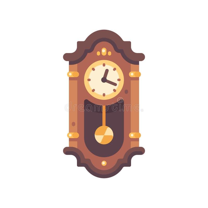Icône plate de vieille horloge de grand-père en bois Icône de meubles antiques illustration de vecteur