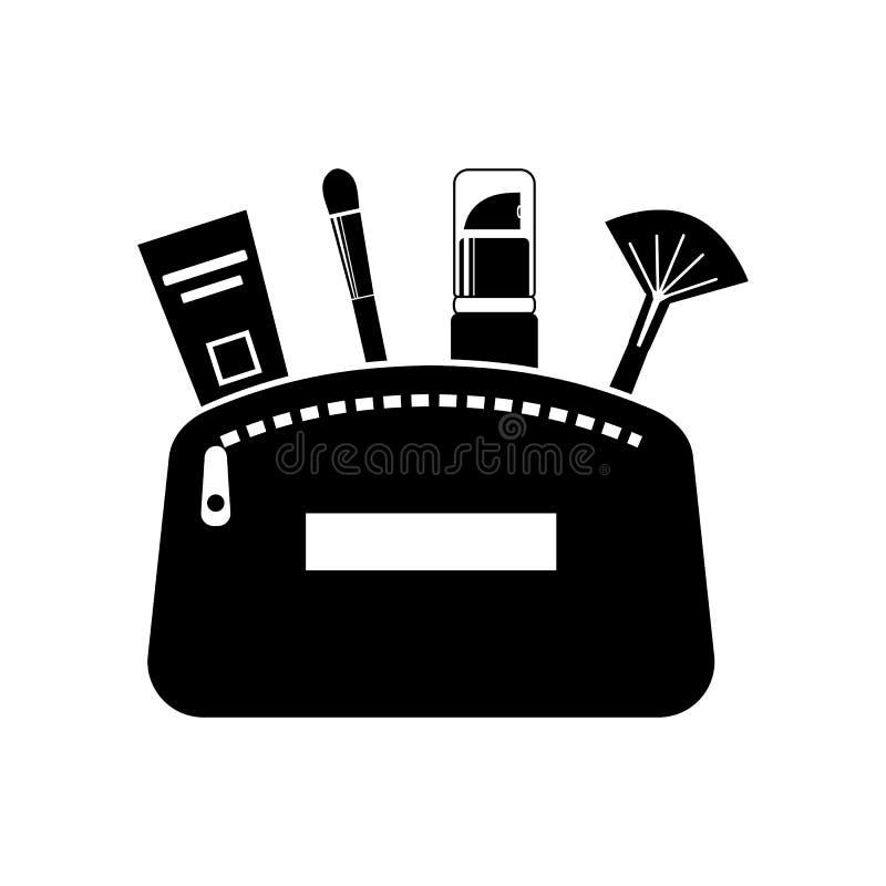 Icône plate des produits cosmétiques dans un sac La conception plate de vecteur de composent des éléments illustration de vecteur