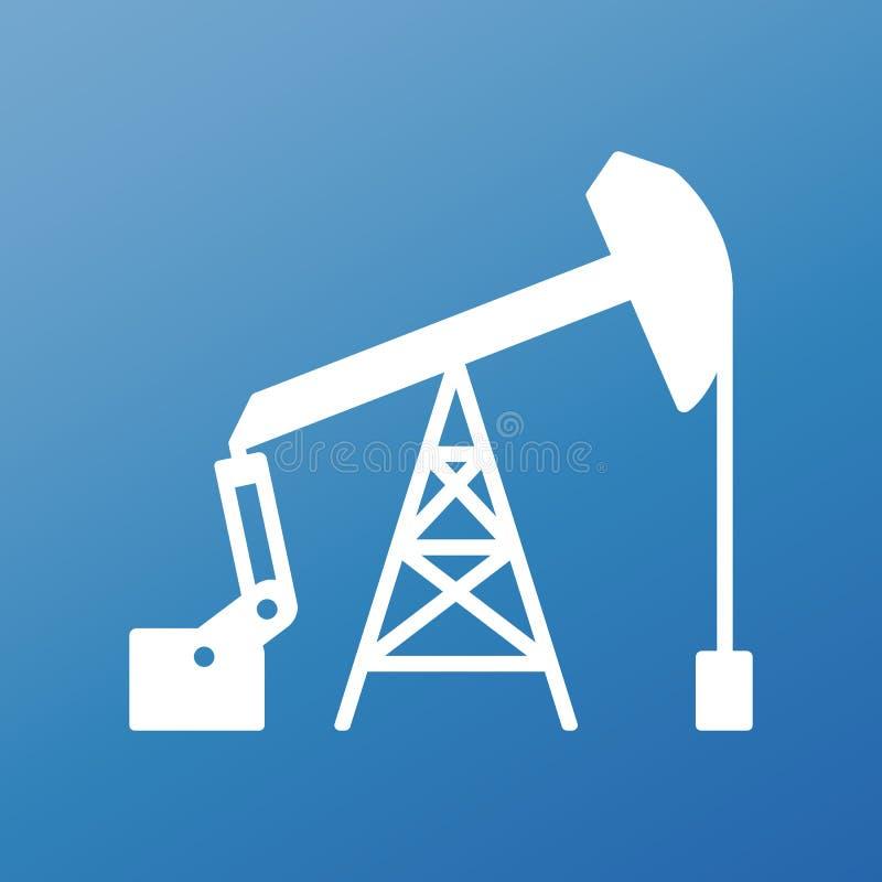 Icône plate graphique blanche de pompe à huile de vecteur sur le fond bleu aspirez illustration libre de droits