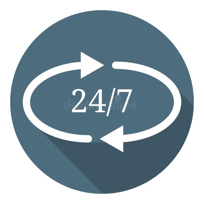 24/7 icône plate Heures par jour 24h ouvertes de service et 7 jours par semaine Illustration de vecteur pour votre conception, We illustration libre de droits
