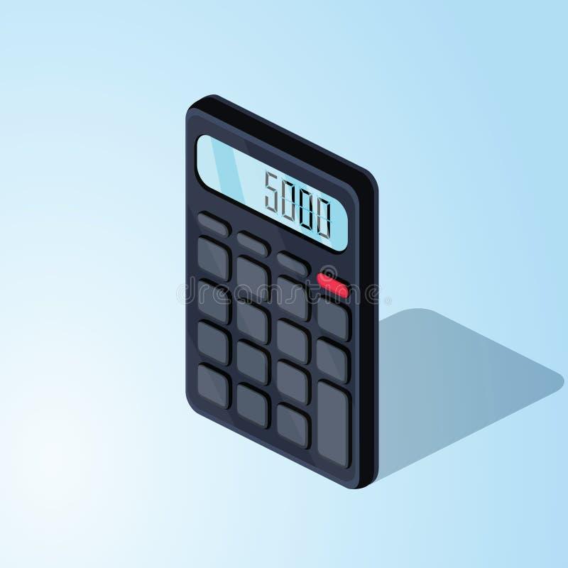 Icône plate isométrique de calculatrice illustration colorée du vecteur 3d d'isolement sur le fond bleu illustration stock