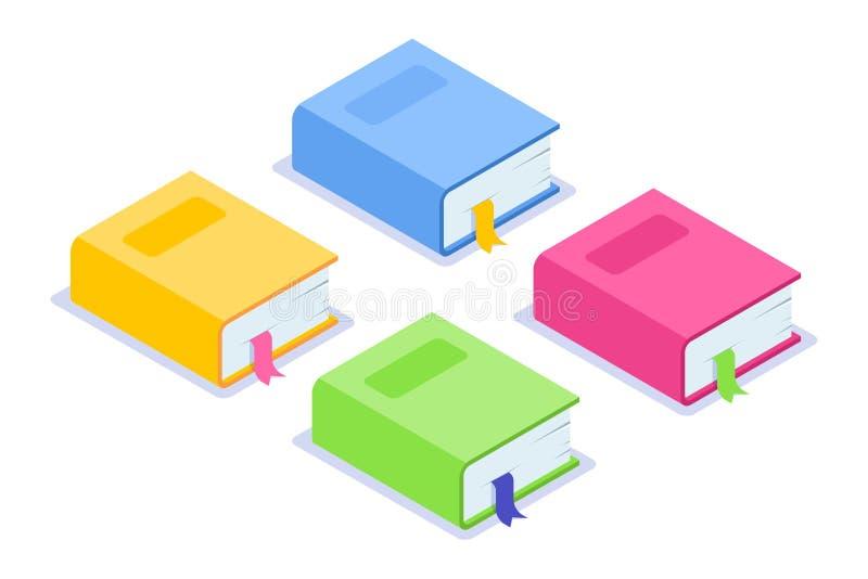Icône plate isométrique de livre Livres épais multicolores avec un repère et une ombre Jaune, bleu, rose et options vertes illustration stock