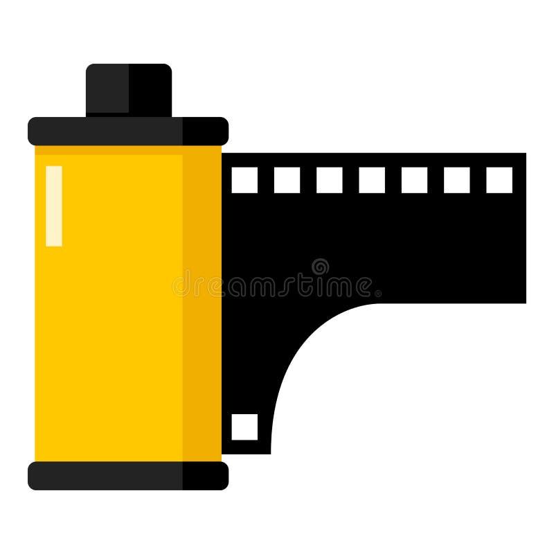 Icône plate jaune de film de petit pain de photo sur le blanc illustration de vecteur