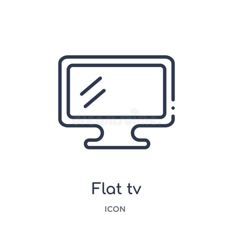 Icône plate linéaire de TV de collection d'ensemble de cinéma Ligne mince vecteur plat de TV d'isolement sur le fond blanc TV pla illustration libre de droits