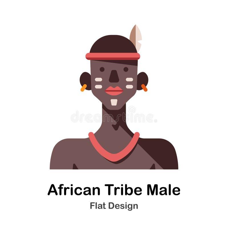 Icône plate masculine de tribu africaine illustration stock