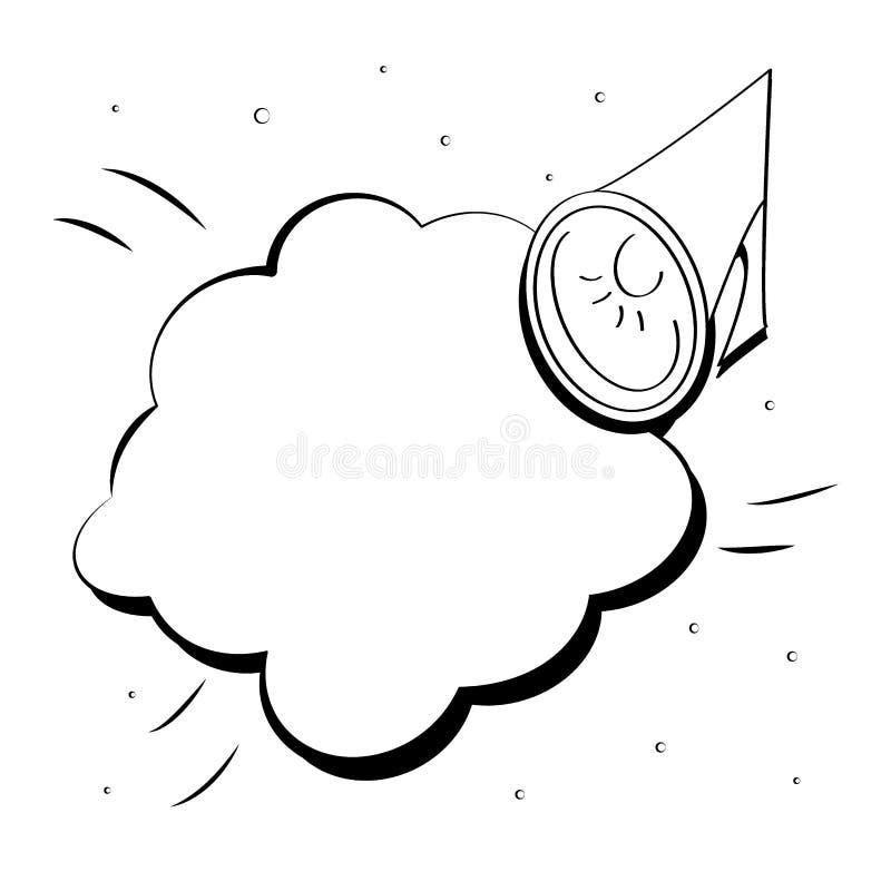 Icône plate monochrome de haut-parleur dans le style de bande dessinée Bulle de klaxon et de parole Illustration de vecteur d'art illustration libre de droits