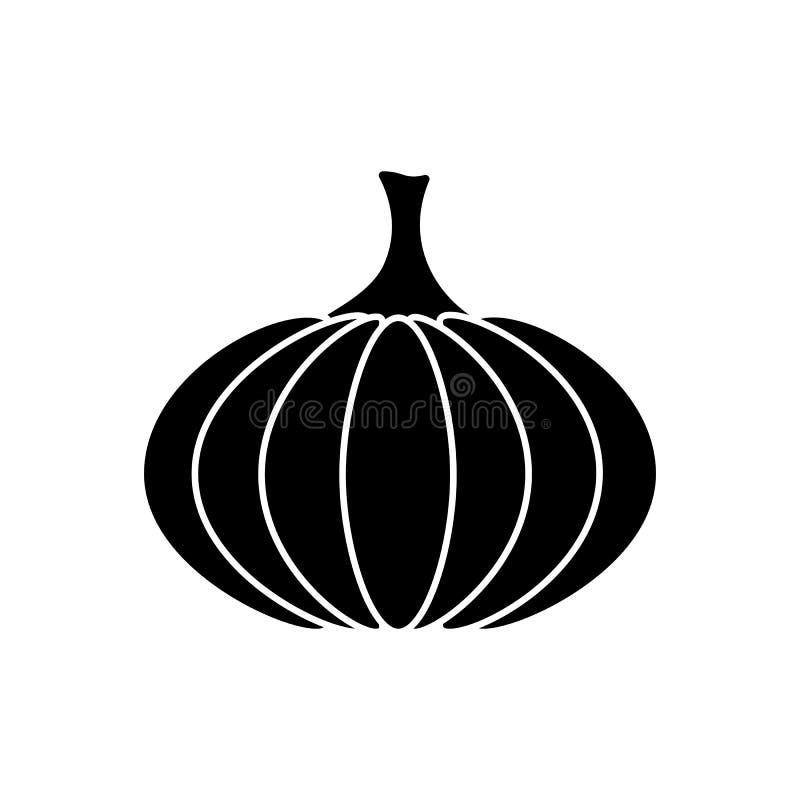 Icône plate noire de potiron de vecteur d'isolement ; signe de nourriture ; illu graphique illustration de vecteur