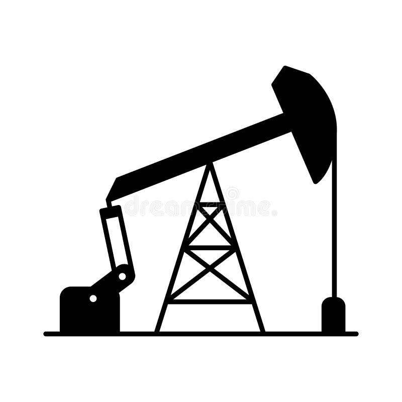 Icône plate noire graphique de pompe de tige de surgeon de vecteur ; logo FO de pompe à huile illustration stock