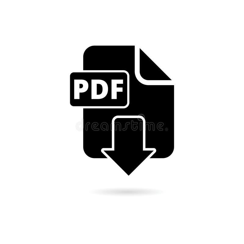 Icône plate numérique de vecteur de format de fichier document de PDF, symbole de téléchargement de PDF de vecteur illustration libre de droits
