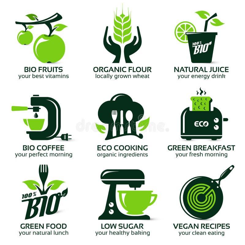 Icône plate réglée pour la cuisine verte d'eco illustration de vecteur