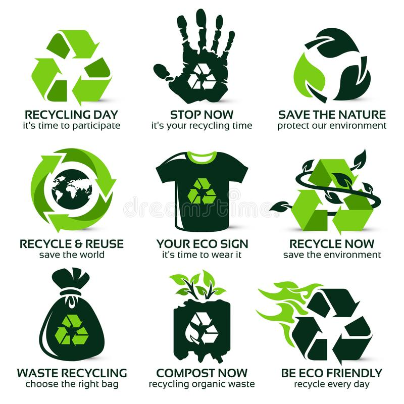 Icône plate réglée pour la réutilisation écologique illustration libre de droits