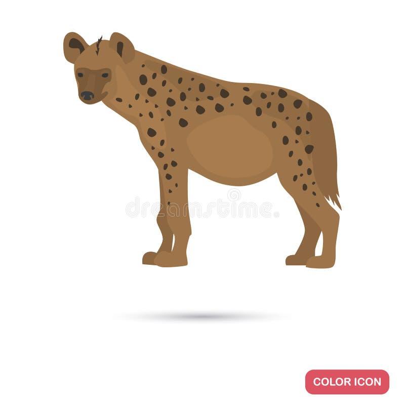 Icône plate repérée de couleur d'hyène illustration de vecteur