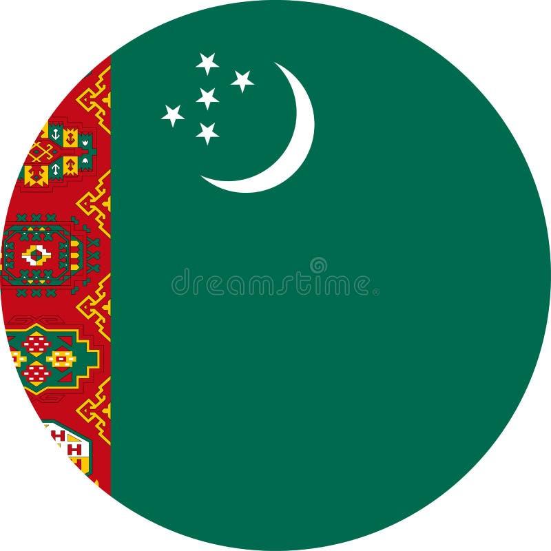 Icône plate ronde de vecteur de drapeau du Turkménistan illustration libre de droits