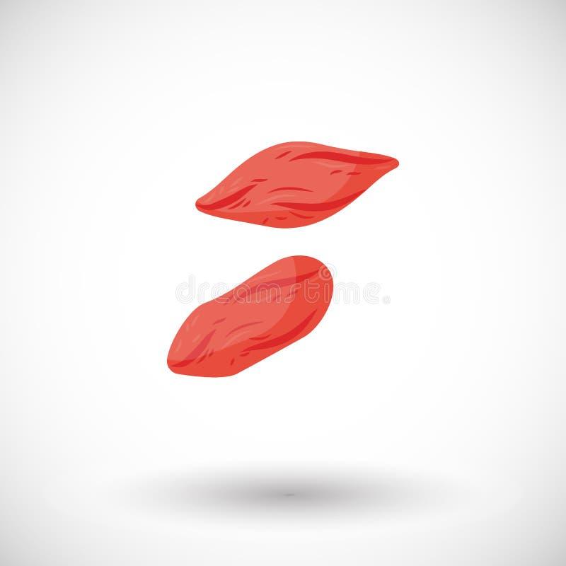 Icône plate sèche de baies de goji illustration stock