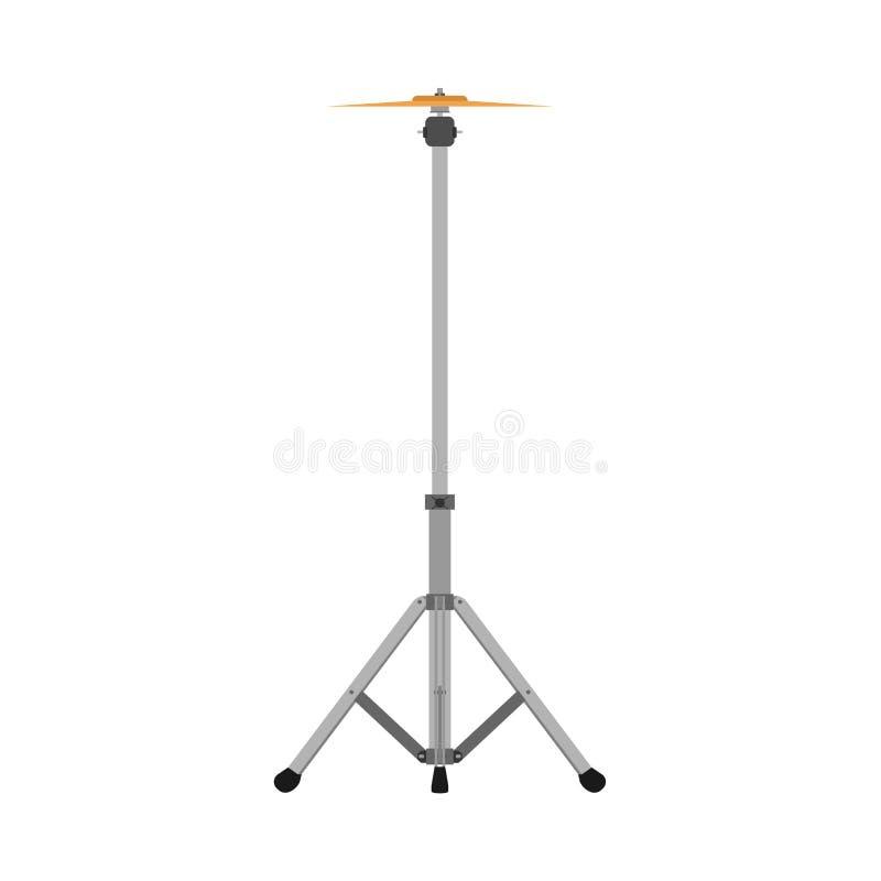 Icône plate saine musicale de vecteur de kit de bande de tambour d'icône de support de cymbales La perche de roche d'instrument v illustration libre de droits