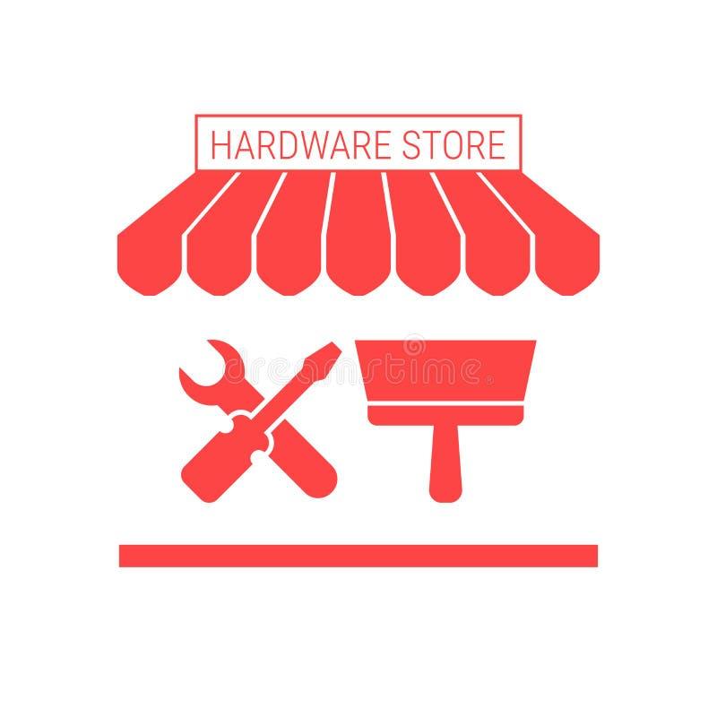 Icône plate simple de magasin de matériel Tente et enseigne rayées illustration libre de droits