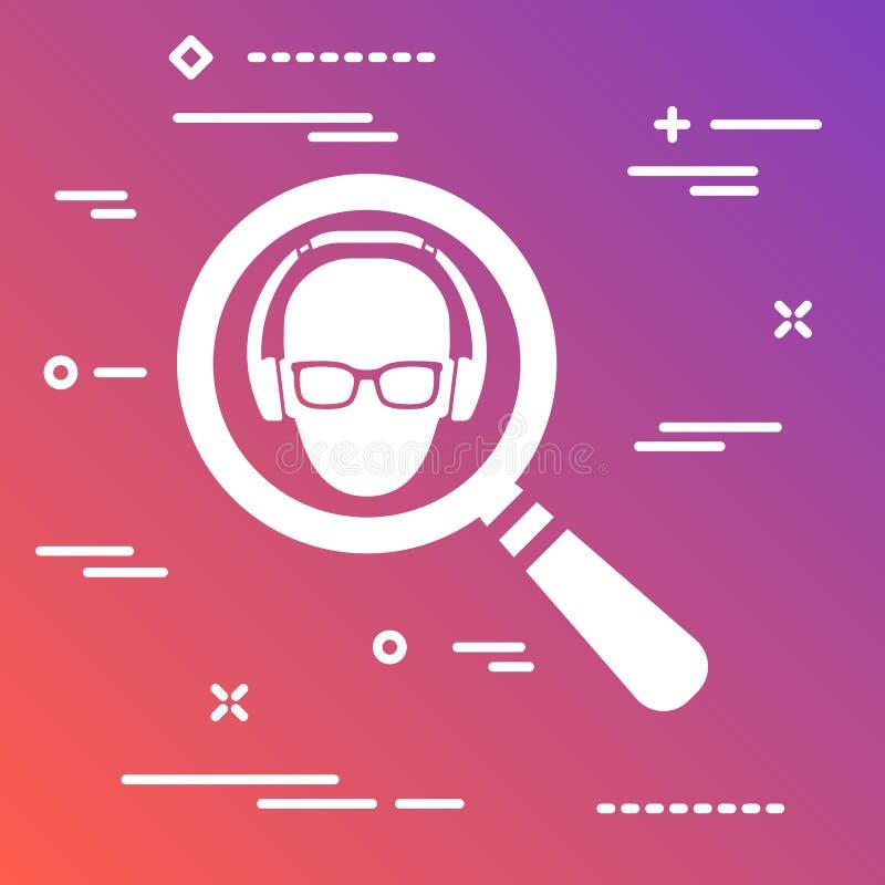 icône plate sous forme de recherche de négociant de loupe illustration stock