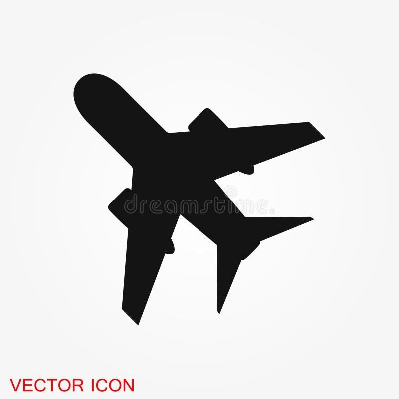Icône plate sur le fond blanc, illustration de vecteur d'avion illustration stock