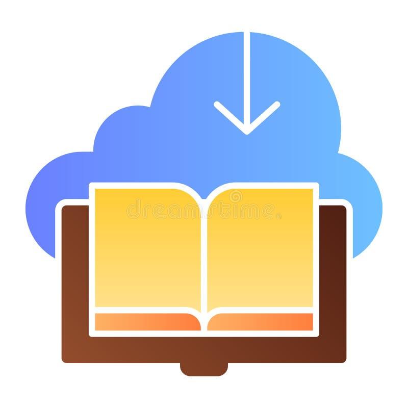 Icône plate téléchargée de livre Nuage avec des icônes de couleur de livre dans le style plat à la mode Sauvez la conception de s illustration libre de droits