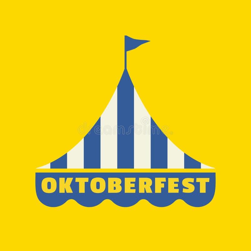 Icône plate tirée par la main de vecteur de couleur d'Oktoberfest illustration stock