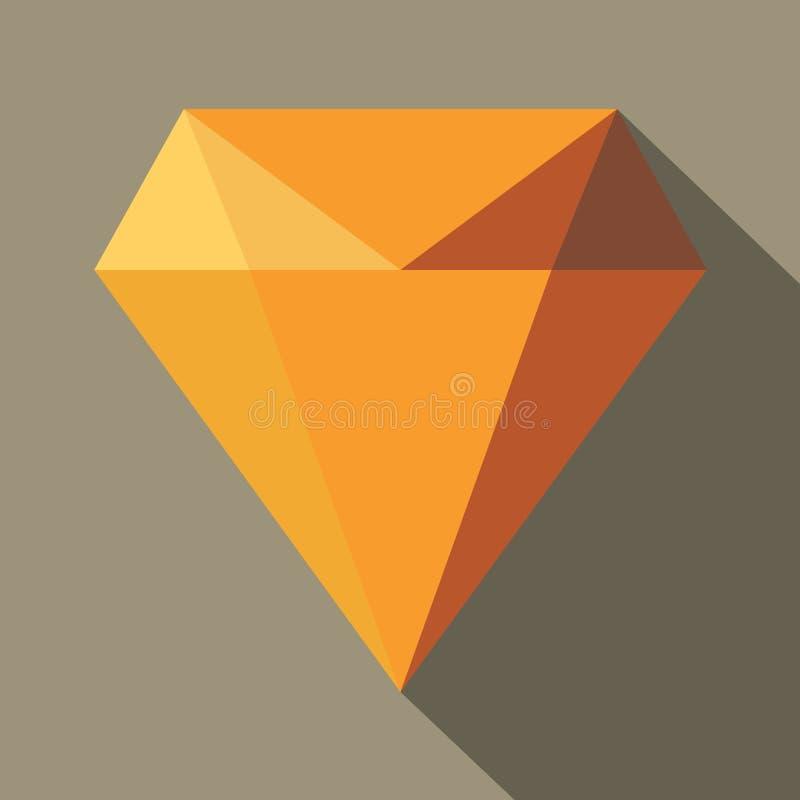 Icône plate verte d'illustration de diamant Icône verte de vecteur de diamant pour le web design avec l'ombre illustration de vecteur