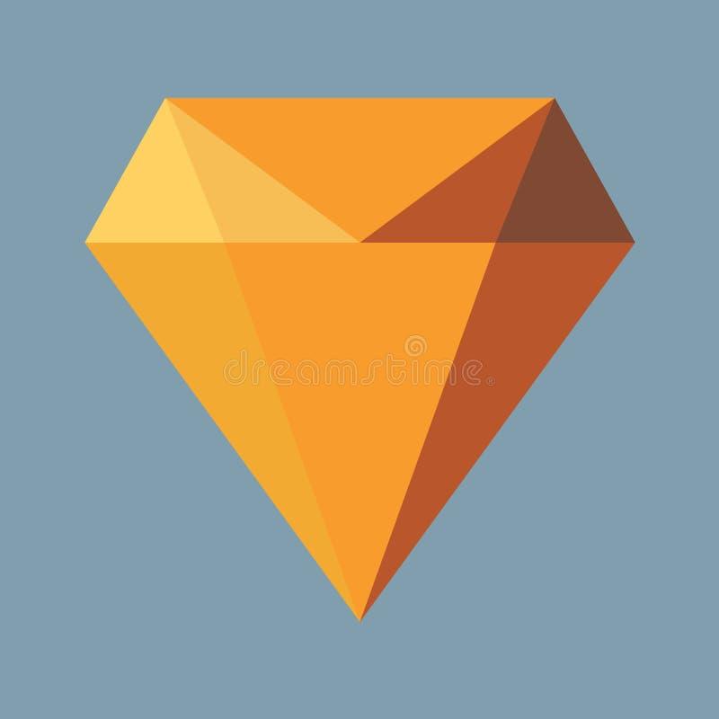 Icône plate verte d'illustration de diamant Icône verte de vecteur de diamant pour le web design sans ombre illustration de vecteur