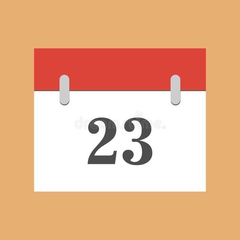 Icône 23 plats de calendrier Icône simple de calendrier avec la date 23 illustration de vecteur