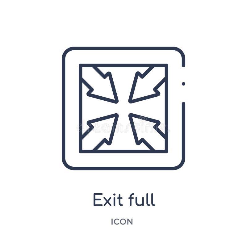 icône pleine page de flèches de sortie de collection d'ensemble d'interface utilisateurs Ligne mince icône pleine page de flèches illustration stock