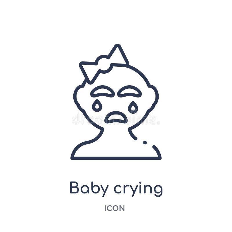 Icône pleurante de bébé linéaire de collection d'ensemble d'enfant et de bébé Ligne mince icône pleurante de bébé d'isolement sur illustration stock