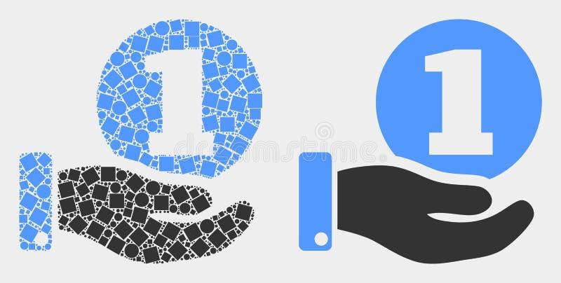 Icône pointillée et plate de main de donation de pièce de monnaie de vecteur illustration de vecteur