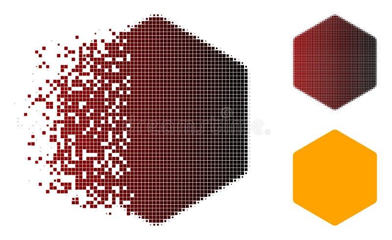 Icône pointillée réduite en fragments d'hexagone remplie par image tramée illustration libre de droits