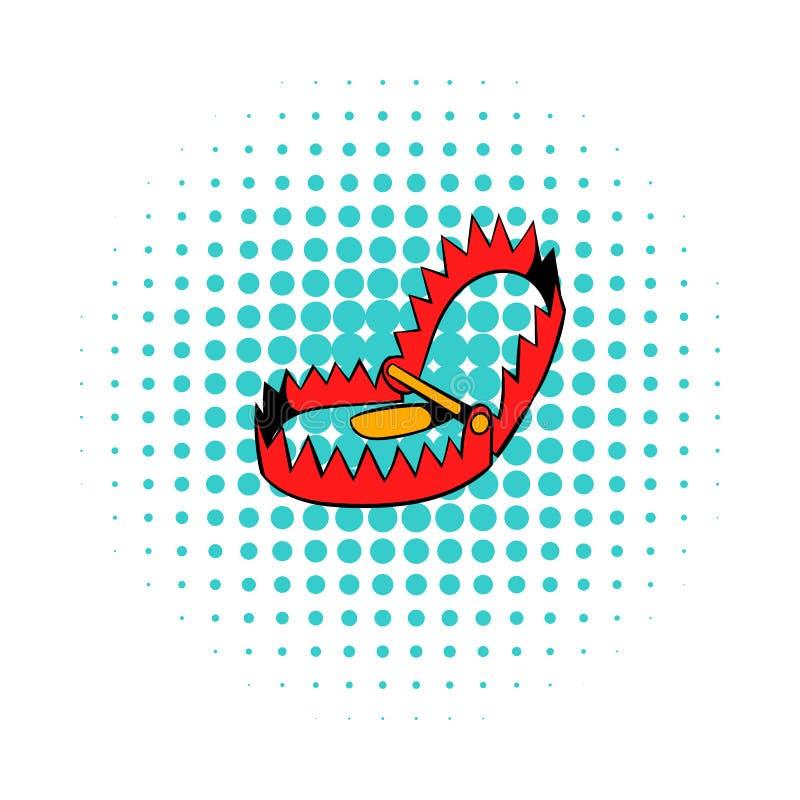 Icône pointue de piège en métal, style de bandes dessinées illustration stock