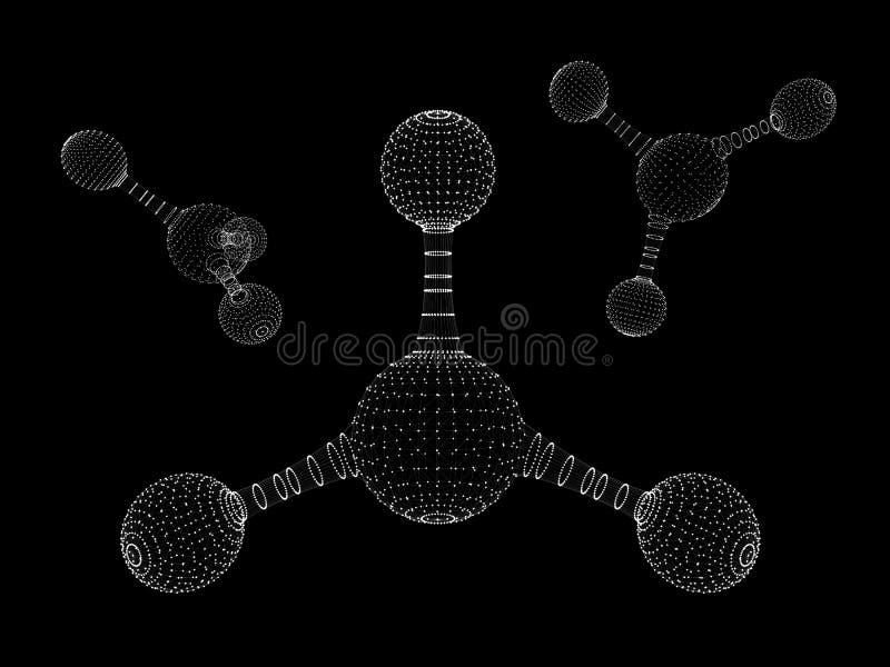 Icône polygonale abstraite de structure de molécule basse poly cellule reliée biologique ADN géométrique de maille de technologie illustration de vecteur