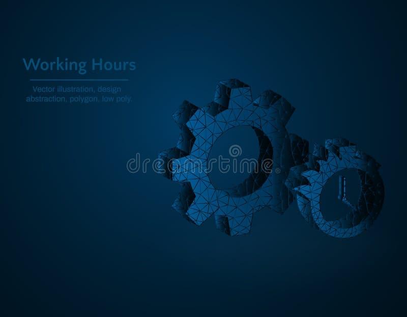 Icône polygonale d'illustration, de vitesse et de chronomètre de vecteur de symbole d'heures de travail basse poly, flamme du feu illustration de vecteur