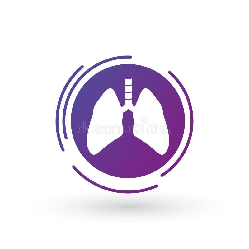 icône pourpre de gradient de poumon en cercle futuriste illustration graphique de poumon d'isolement sur le fond blanc illustration libre de droits