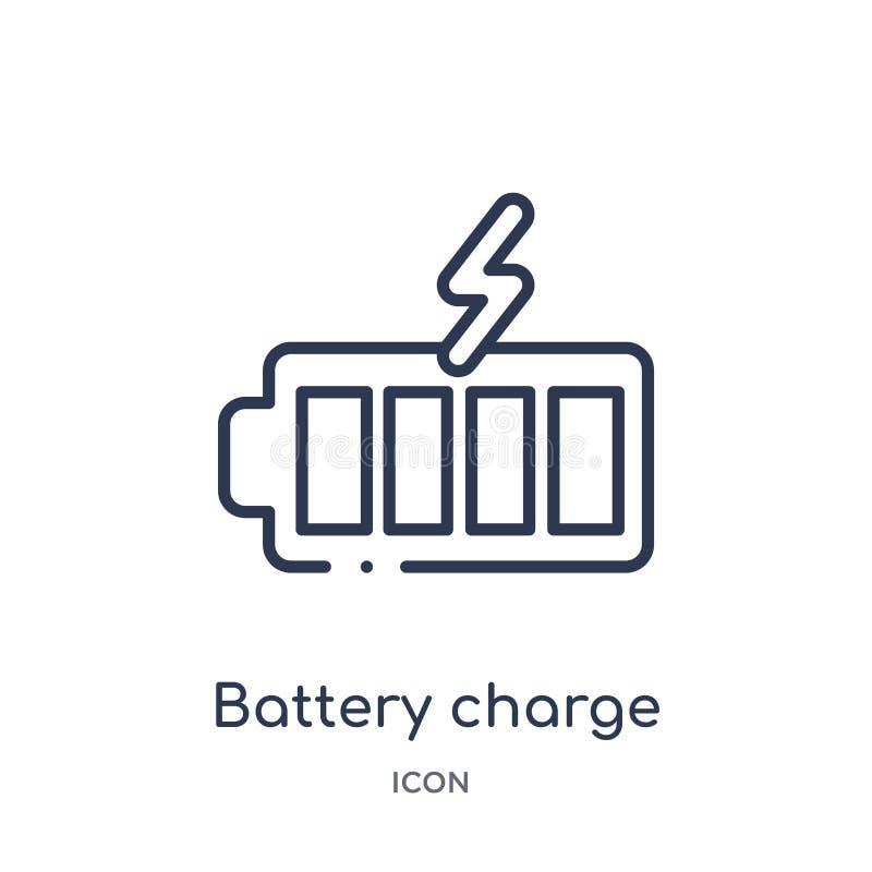icône presque pleine de charge de batterie de collection d'ensemble de technologie Ligne mince icône presque pleine de charge de  illustration stock