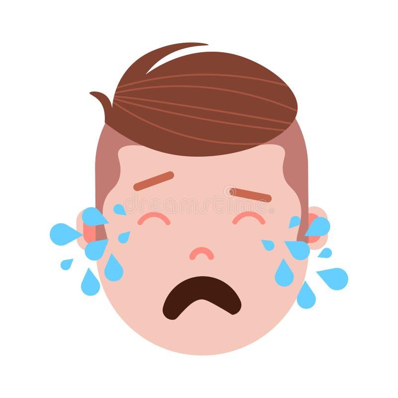 Icône principale de personnalité d'emoji de garçon avec des émotions faciales, caractère d'avatar, visage pleurant d'homme avec d illustration de vecteur