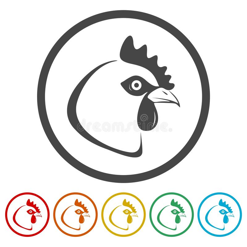 Icône principale de poulet illustration stock