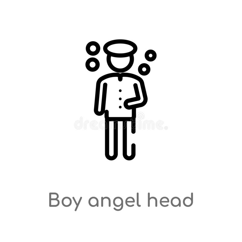 icône principale de vecteur d'ange de garçon d'ensemble ligne simple noire d'isolement illustration d'élément de concept de perso illustration de vecteur