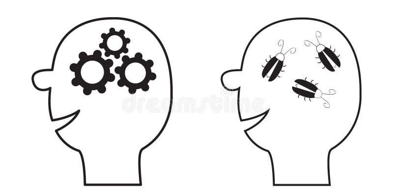 Icône principale humaine de visage Ligne noire silhouette Roues de vitesses à l'intérieur de cerveau Concept d'affaires de travai illustration de vecteur