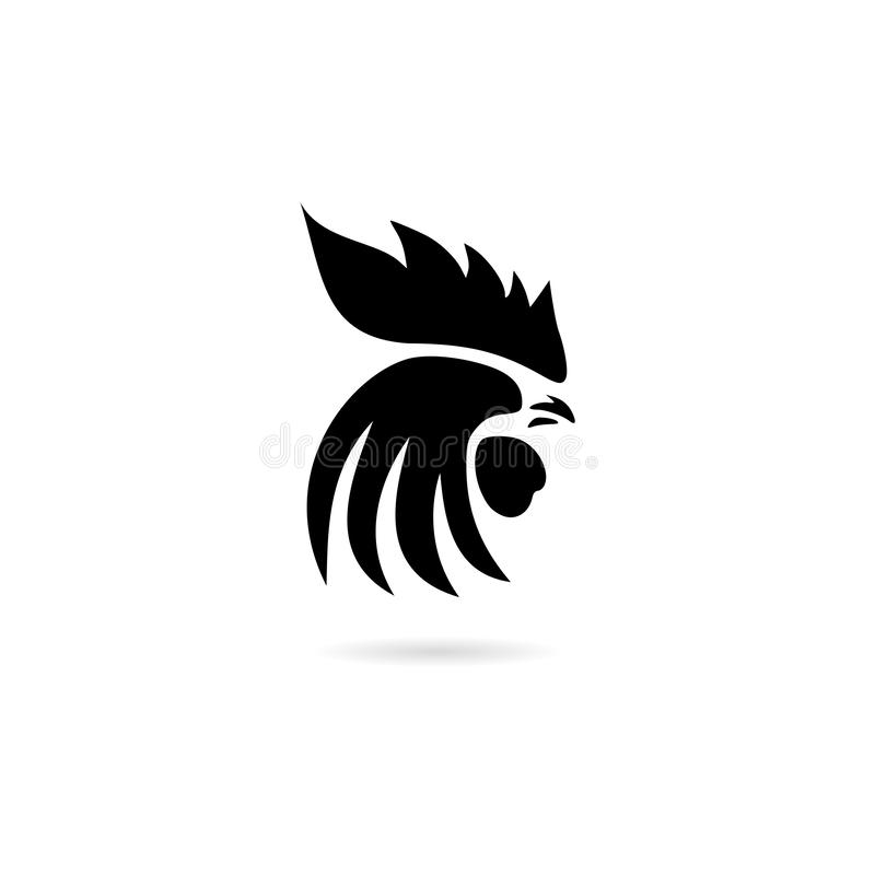 Icône principale ou logo de coq noir illustration stock