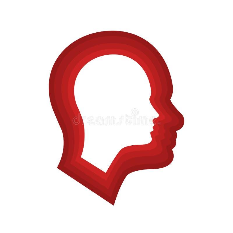 Icône principale pour la schizophrénie illustration de vecteur